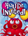 Big Red Octopus Small Invitation