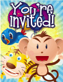 Bird Tiger Monkey Small Invitation