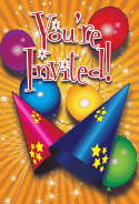 Birthday Hats Balloons Invitation