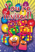 Birthday Monsters Presents Invitation