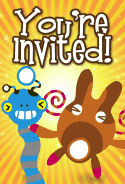 Blue and Brown Aliens Invitation
