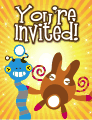 Blue and Brown Aliens Small Invitation