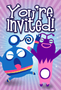 Blue and Purple Aliens Invitation
