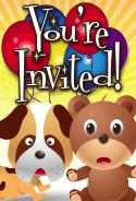 Dog and Teddy Bear Invitation