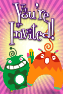 Green and Orange Aliens Invitation