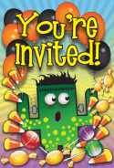 Halloween Candy Frankenstein Party Invitation