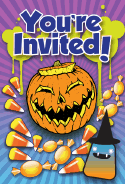 Halloween Jack-o-Lantern Monsters Candy Invitation