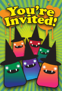 Halloween Monsters Hats Invitation