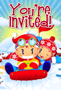 Kids on Sled Invitation
