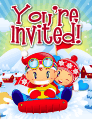 Kids on Sled Small Invitation