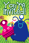 Pink and Blue Aliens Invitation