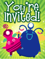 Pink and Blue Aliens Small Invitation