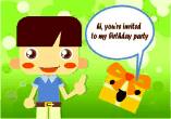 Birthday Party Invitation with Boy and Gift