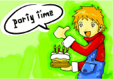 Birthday Party Invitation with Boy and Cake
