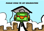Graduation Party Invitation with Robot Wearing Mortarboard