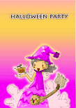 Halloween Party Invitation with Purple Witch