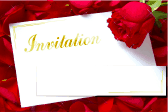 Wedding Invitation with Card and Roses